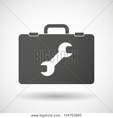 Isolated Briefcase Icon With A Wrench