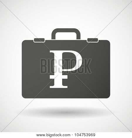 Isolated Briefcase Icon With A Ruble Sign