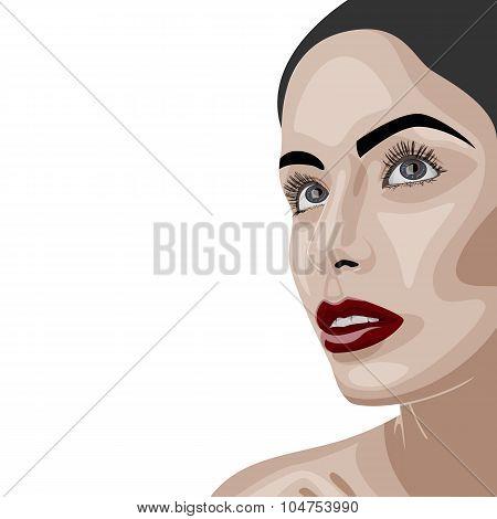 Beauty brunette Woman with clean Skin