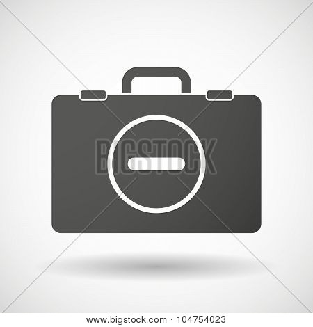 Isolated Briefcase Icon With A Subtraction Sign