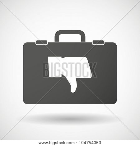 Isolated Briefcase Icon With A Thumb Down Hand