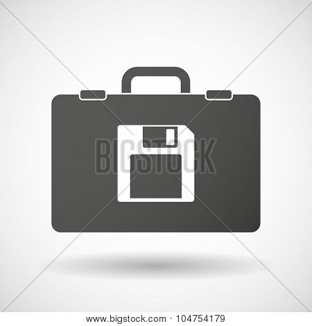Isolated Briefcase Icon With A Floppy Disk