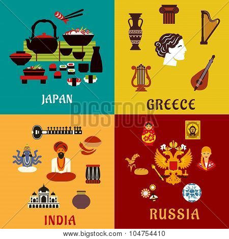 Japan, Russia, India and Greece flat icons