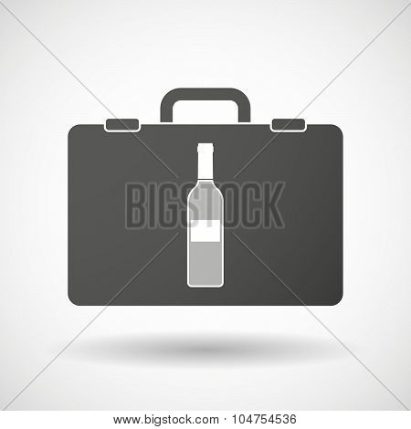 Isolated Briefcase Icon With A Bottle Of Wine
