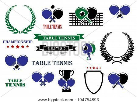 Table tennis game heraldic elements