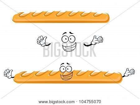 Funny cartoon french baguette bread