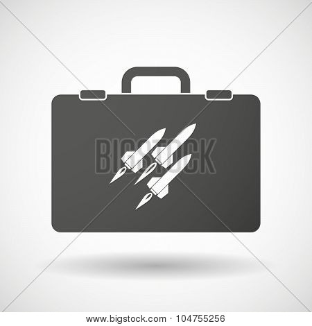 Isolated Briefcase Icon With Missiles