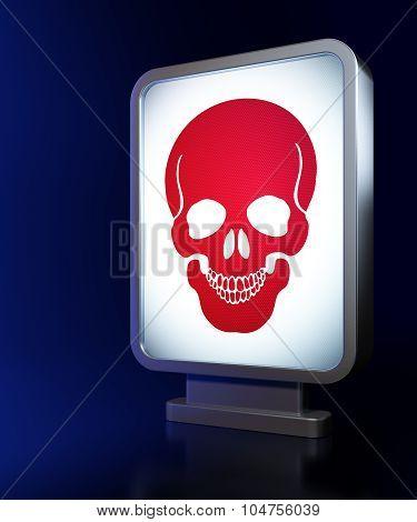 Medicine concept: Scull on billboard background