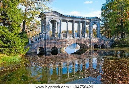 Tsarskoye Selo (Pushkin). Saint-Petersburg. Russia. The Marble Bridge in the Catherine Park