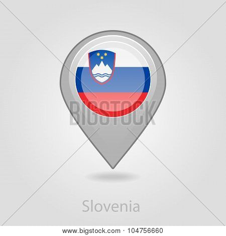 Slovenian flag pin map icon, vector illustration