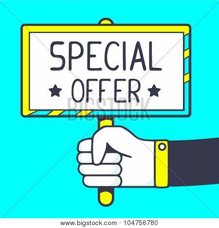 Vector Illustration Of White Placard In Hand With Handwrite Text On Blue Background. Bright Color.