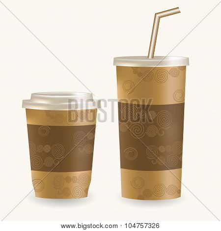 Plastic coffee cup ans disposable cup for beverages with straw over white background.