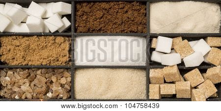 Tray Of Assorted Sugar Types