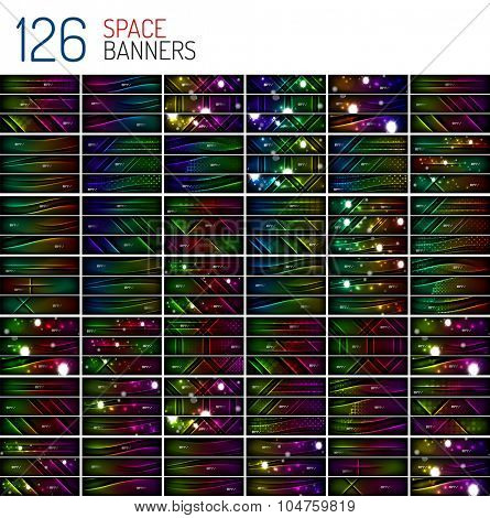Huge mega collection of dark space backgrounds with waves and lines - banners, headers, patterns and layouts for advertising or presentation. Backdrops with stars, glows and light effects