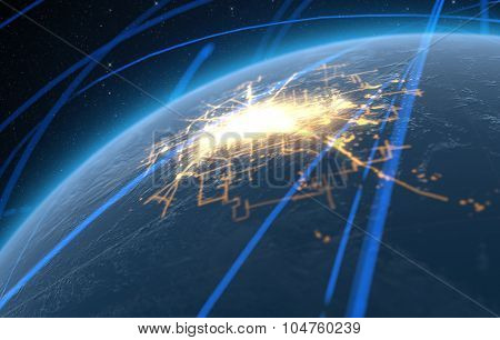 Planet With Illuminated City And Light Trails