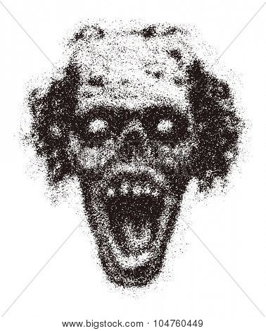 Zombie. Vector illustration. Distressed. (one compound path)