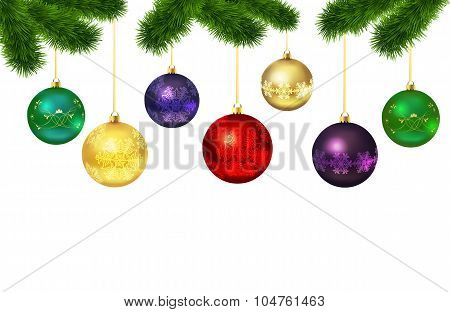 Christmas balls with ornament .Fur-tree frame
