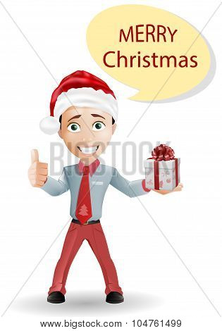 Funny boy and Christmas isolated on white