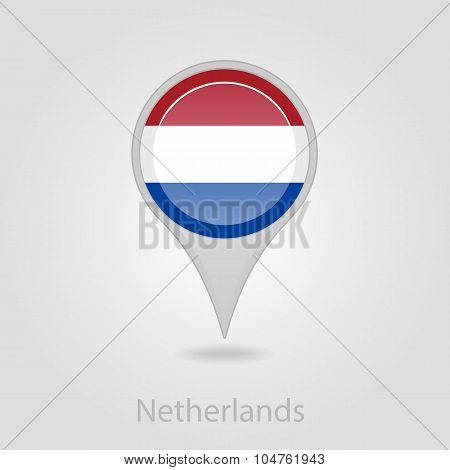 Netherlands flag pin map icon, vector illustration