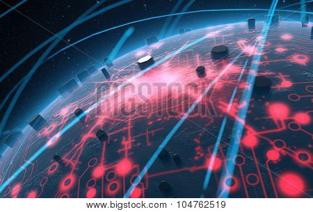 Alien Planet With Illuminated Network And Light Trails
