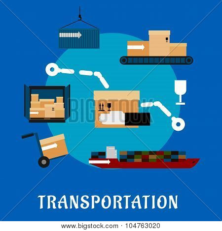 Shipping and logistics flat icons