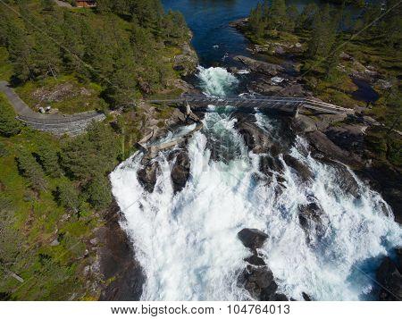 Likholefossen Waterfall From Air