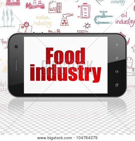 Industry concept: Smartphone with Food Industry on display