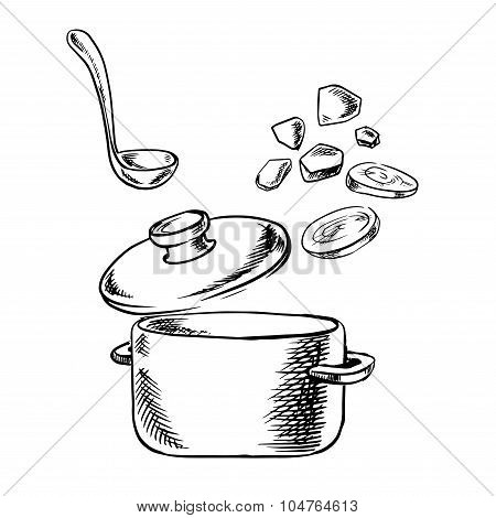Cooking process of soup with vegetables
