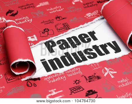 Manufacuring concept: black text Paper Industry under the piece of  torn paper