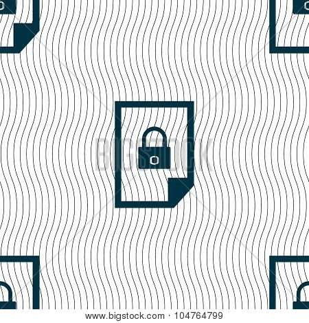 File Locked Icon Sign. Seamless Pattern With Geometric Texture. Vector