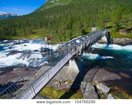 Bridge Accross Likholefossen Waterfall