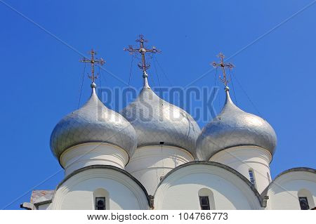 St. Sophia Cathedral Domes Against Of Blue Sky Taken Closeup. Vologda,russia.