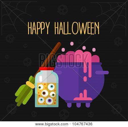 Happy Halloween flat vector illustration