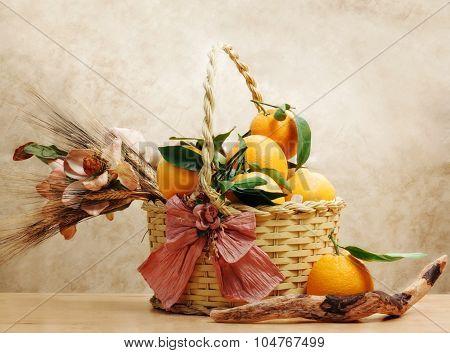 Oranges Inside Wicker Basket