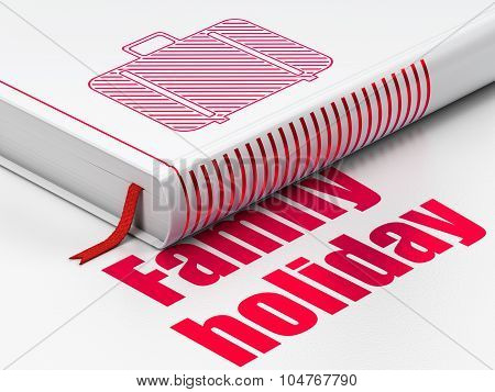 Vacation concept: book Bag, Family Holiday on white background
