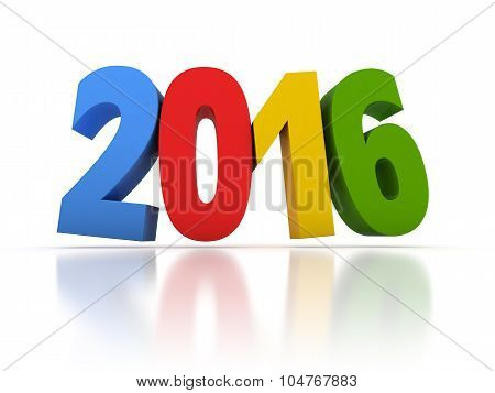 Render of the New Year 2016 with colors