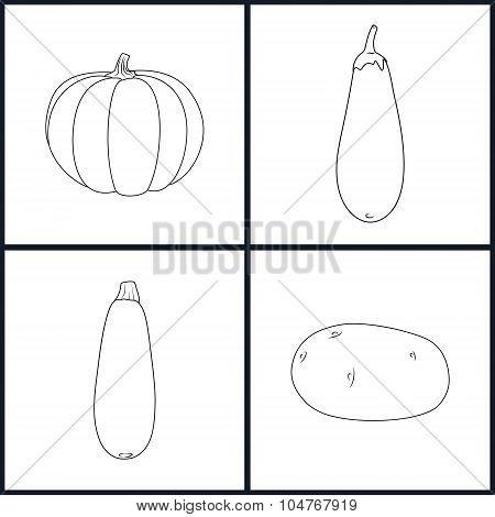 Icons Potato, Eggplant, Zucchini, Pumpkin