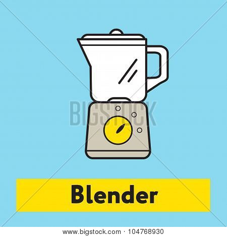The flat icon of blender mixer silhouette on the blue background