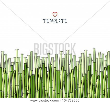 Template with bamboo. Japanese background