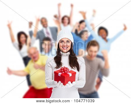Happy laughing Christmas people crowd with gifts. Xmas party.