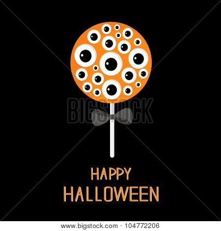Sweet Candy Lollipop With Eyeball Set. Black Bow. Happy Halloween Card. Flat Design