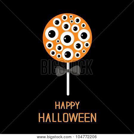 Sweet Candy Lollipop With Eyeball Set. Black Bow. Happy Halloween Card. Flat Design