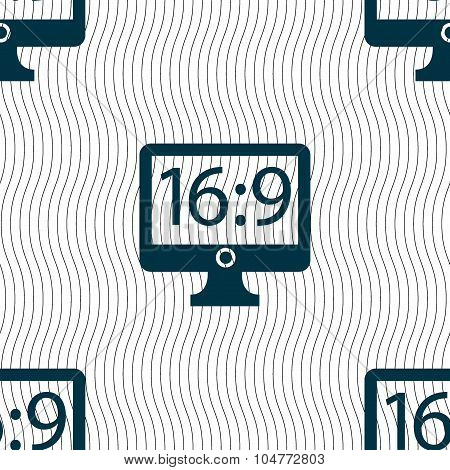 Aspect Ratio 16 9 Widescreen Tv Icon Sign. Seamless Pattern With Geometric Texture. Vector
