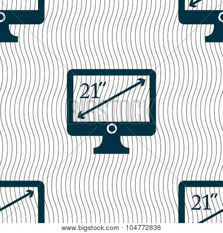 Diagonal Of The Monitor 21 Inches Icon Sign. Seamless Pattern With Geometric Texture. Vector