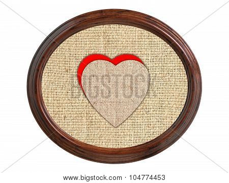 Linen Burlap Texture With Hearts In Wooden Frame Isolated On White Background