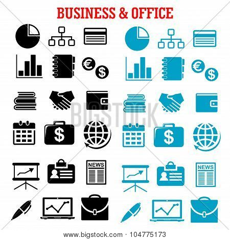 Business, finance and office flat icons