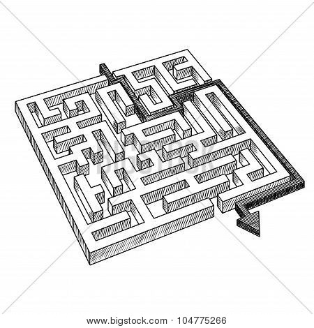 Labyrinth or maze, solved by arrow