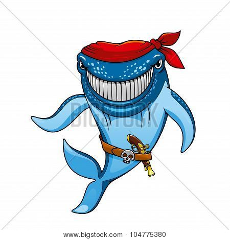 Cartoon blue whale pirate in bandanna and gun