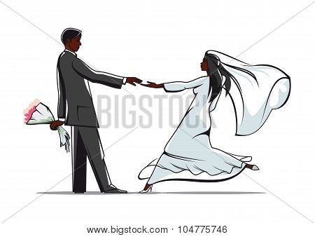 Happy bride and groom joining hands