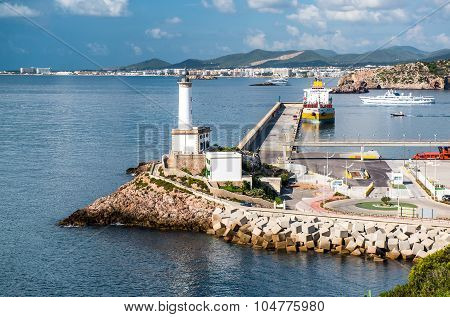 Lighthouse And Port Of Ibiza Town, Balearic Islands. Spain